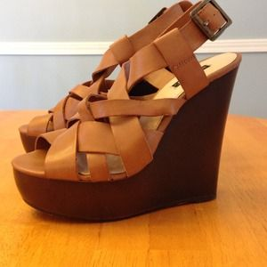 Shoemint brown leather strappy wedges! Like new!