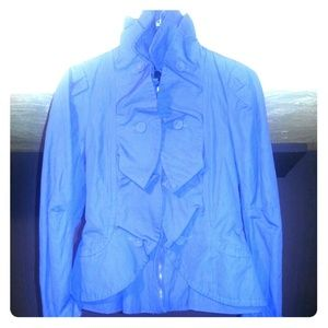 REDUCED* BCBG MAXAZRIA Blue Chambray ruffle jacket