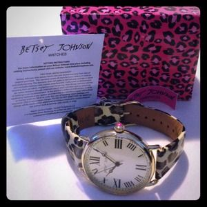 Betsey Johnson Accessories - RESERVED--Leopard Patent Leather Strap Watch