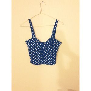 Tops - Blue and white polka dot top