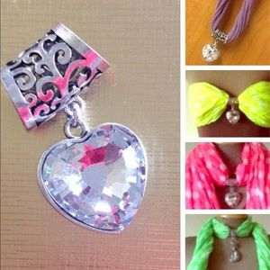 Accessories - NEW Large Glass Heart Scarf Pendant