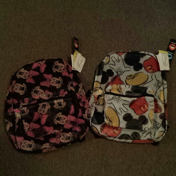 58b8a46a692 DISNEY MICKEY AND MINNIE MOUSE MESH BACKPACK NWT!