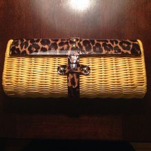 J. Crew yellow and leopard clutch