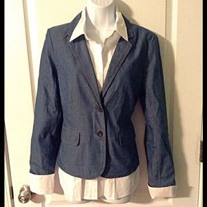 kenar Jackets & Blazers - ⚓Casual Chambray Blazer with Nautical Buttons ⚓