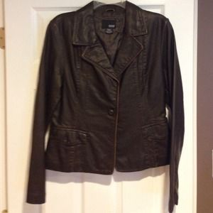 Faux brown leather jacket.