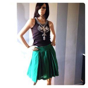 NWOT Banana Republic green cotton & silk skirt