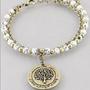 Jewelry - Tree of life brass oxidized white bracelet