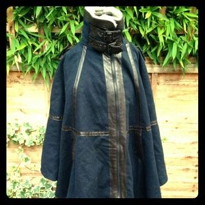 TopShop Wool Navy Blue Shearling Cape Coat
