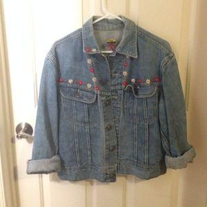 Vintage Lee Denim Jacket with stitched flowers
