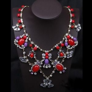 Glam red purple crystals statement necklace