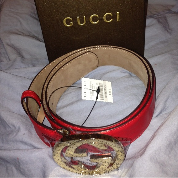 2cd2227916d Authentic all red Gucci belt with gold buckle