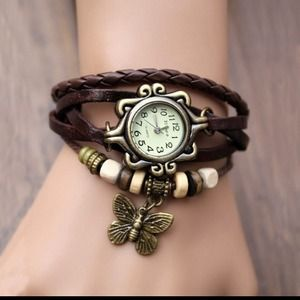 Accessories - NEW🆕 VINTAGE LEATHER BOHEMIAN INFINITY WATCH .