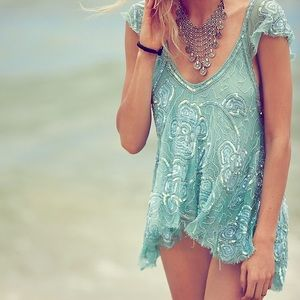 Beautiful Free People sea foam sequin top