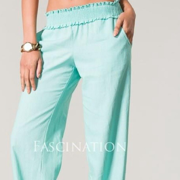mint linen pants - Pi Pants