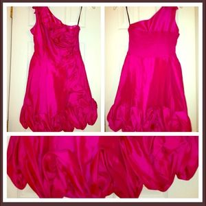 Pink one shoulder cocktail dress!