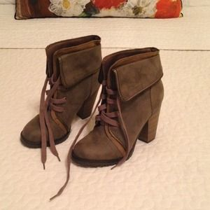 Laced Booties with Zipper Detail