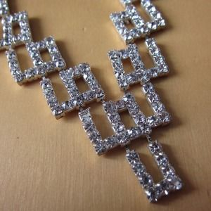 Vintage Jewelry - Vintage Deco Geometric Rhinestone Necklace