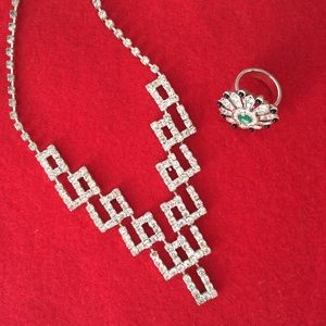 Vintage Deco Geometric Rhinestone Necklace