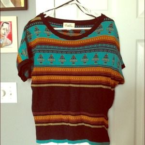 Forever 21 Sweaters - Fun printed short sleeved sweater