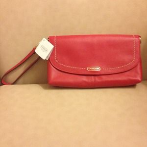 Coach Clutches & Wallets - 🚫SOLD🚫NWT Coach Red Leather large Wristlet