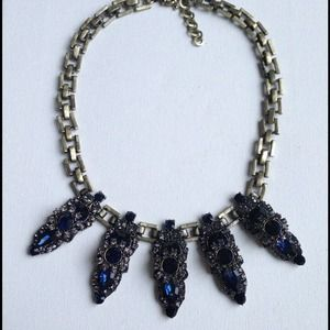 Midnight blue crystals statement necklace SALE