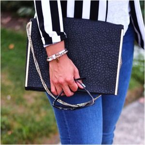 ZARA large envelope clutch with chain strap.