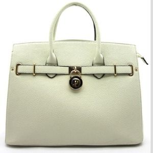 Cream colored oversized handbag