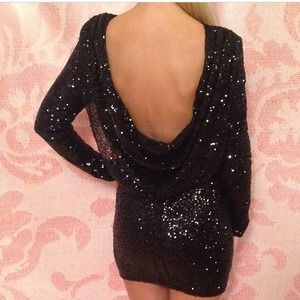 Dresses & Skirts - Black sequin mini dress
