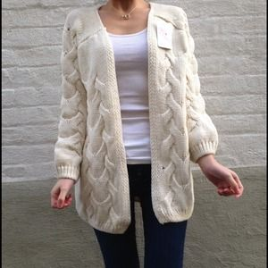 Accessories - Cream cross knitted open front sweater & cream bag