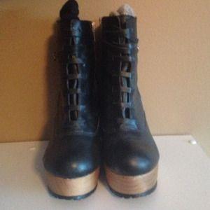Deena & Ozzy Cutout Wedge Boots