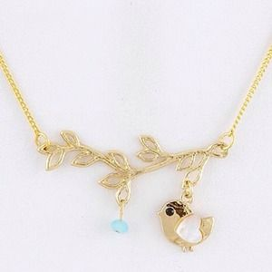 Jewelry - Gold Bird On Branch Necklace