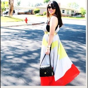 Dresses & Skirts - *Price Reduced!* Gracia Pleated Colorblock Maxi