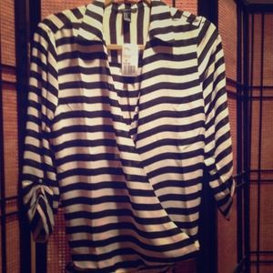 Black and Cream Woven Top