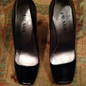 ON HOLD- Prada patent leather wedge/heel. Size 6.