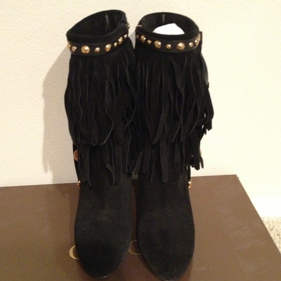 28% off Gucci Shoes - Gucci black suede fringe boots from Irene's ...