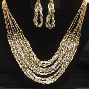 Beautiful gold white  necklace and earrings set