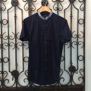 Antony Morato Tops - Antony Morato Blue Corean Neck Shirt