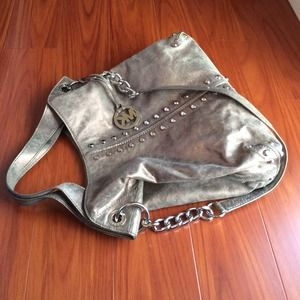 💯Auth Michael Kors Astor Uptown Metallic LG Bag