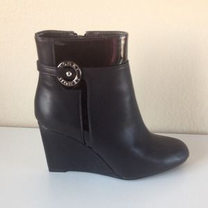 Monet Boots - Black Wedge Boots