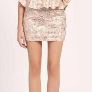 Champagne Lace and Sequin Skirt NEW