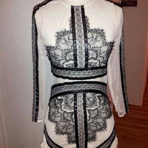 sheinside Dresses & Skirts - Contrast eyelash lace mesh pencil dress