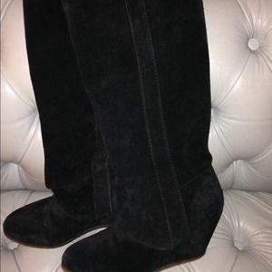 Zara black suede wedge boots