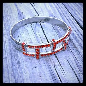 Jewelry - FIERY Orange Red Rhinestone & Silver Bangle NEW