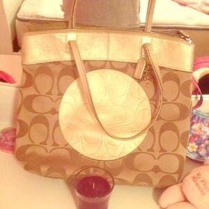 Gold AUTHENTIC COACH bag