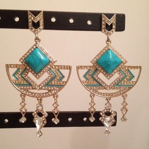 Bauble Bar turquoise gold statement earrings