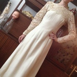 Vintage wedding dress with lace train