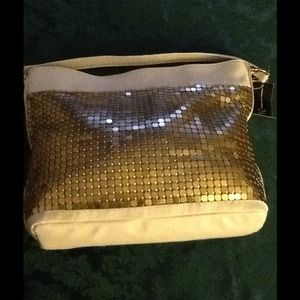 INC International Concepts Handbags - INC Leather Hobo Handbag w Gold Mesh Bling
