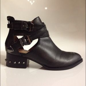 Jeffrey Campbell Shoes - JEFFREY CAMPBELL Distressed Black Spike Boots 1