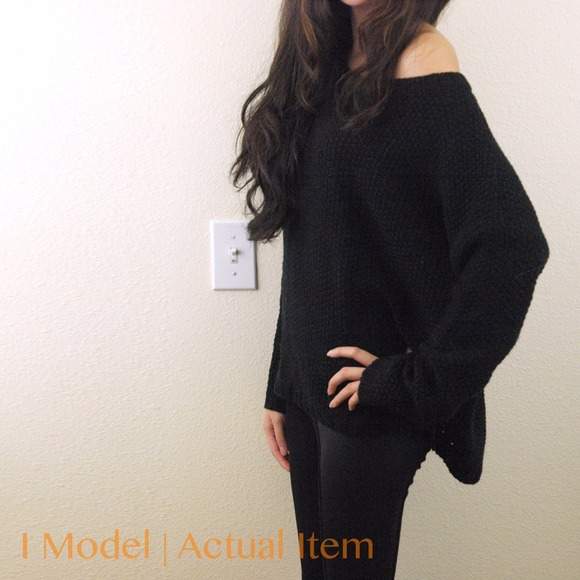 Sweaters - Black thick off shoulder sweater 2