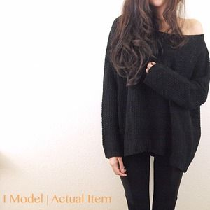 Sweaters - Black thick off shoulder sweater